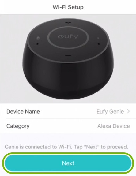 Next button highlighted on WiFi setup completion screen in EufyHome app.