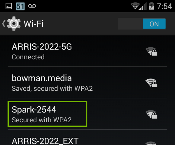 Wi-Fi list with Spark highlighted. Screenshot
