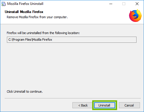 Install location with Uninstall highlighted.