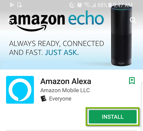 Android app store for amazon alexa with install selected