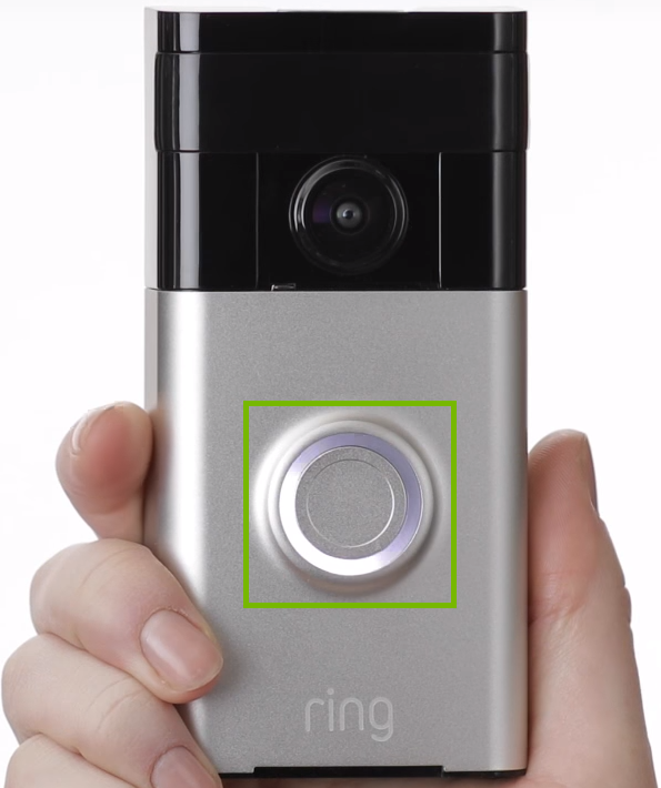 Front of Ring doorbell with ring around button highlighted