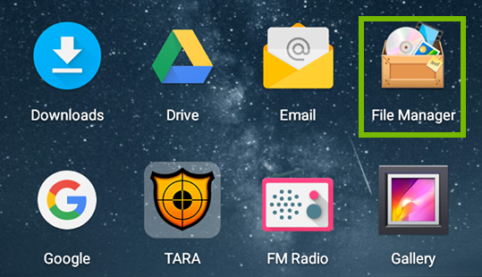 home screen with file manager highlighted