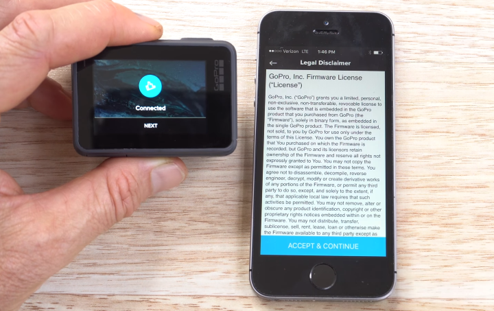 GoPro HERO6 displaying a successful connection screen, and a smartphone displaying a EULA acknowledgement.