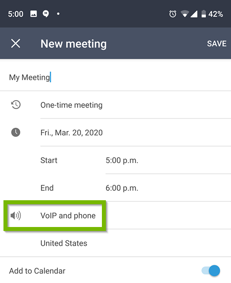 new meeting. voip and phone