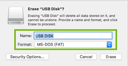 Erase dialog with Name and Format highlighted.