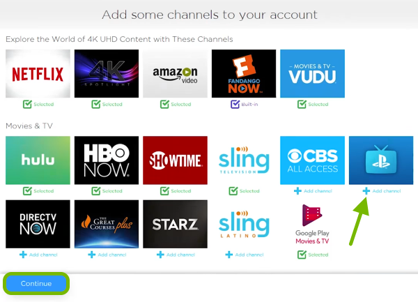 Add Channel option pointed out and Continue button highlighted on activation page.