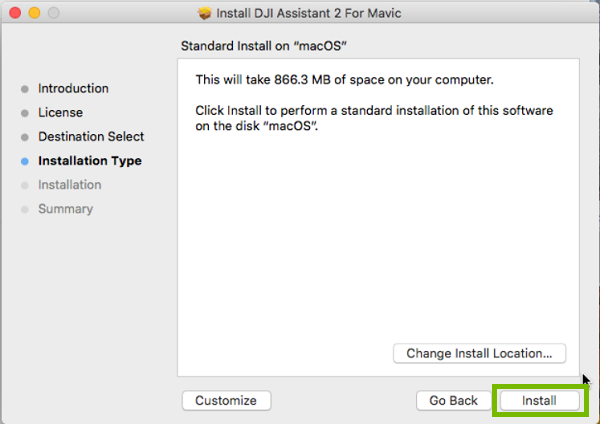 DJI Installer with Install highlighted. Screenshot