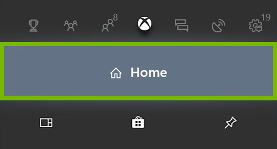 Home option highlighted in Xbox One menu.
