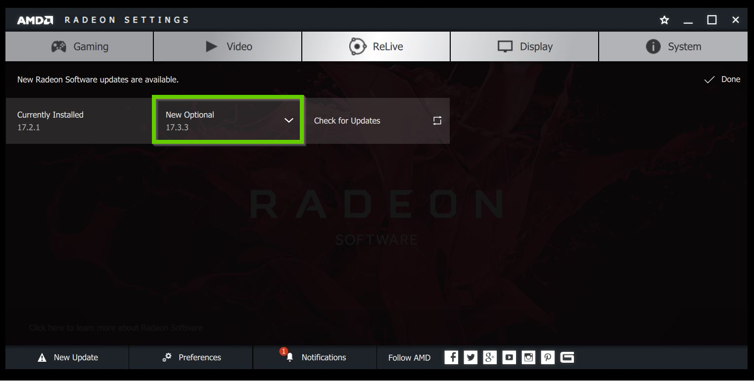AMD Radeon optional driver
