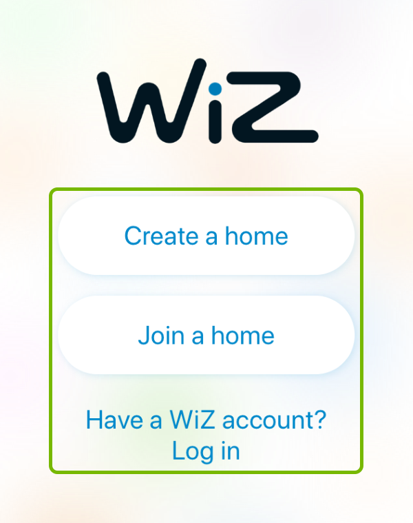 Sign in options highlighted on WiZ app login screen.