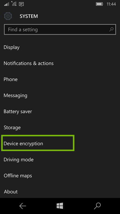 screenshot of system settings with device encryption highlighted
