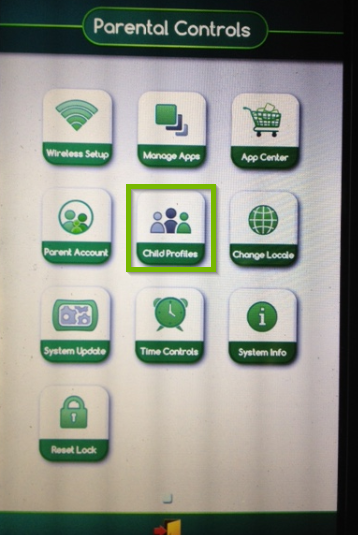 Screenshot of the LeapPad Ultimate's parental controls menu highlighting the child profiles icon.