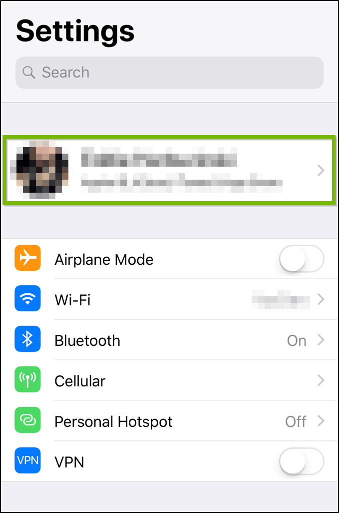 iOS Settings menu highlighting the iCloud user button.