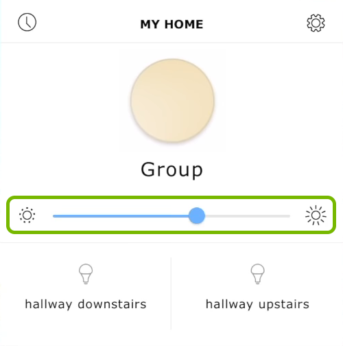 Group light controls highlighted in Ikea Tradfri app.