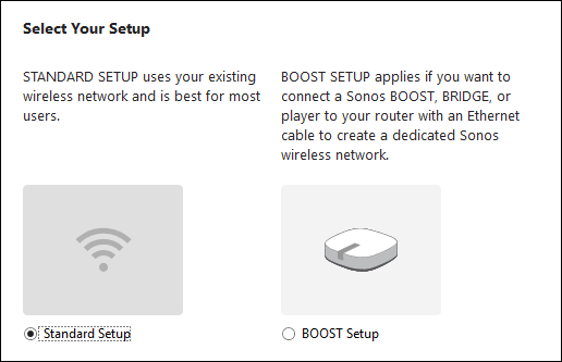 Sonos Setup method selection screen
