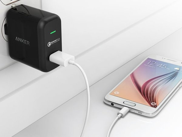 Charging a Smartphone with a wall charger.