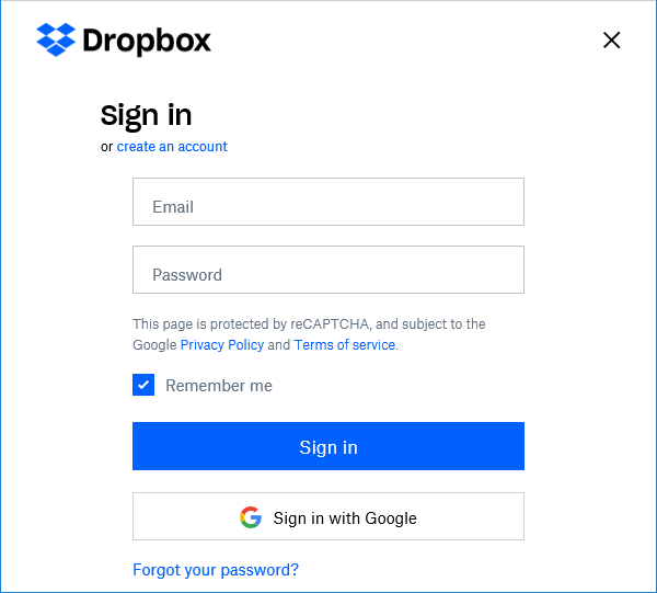 Dropbox Sign in.