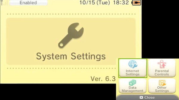 System Settings menu, highlighting the Internet Settings icon.