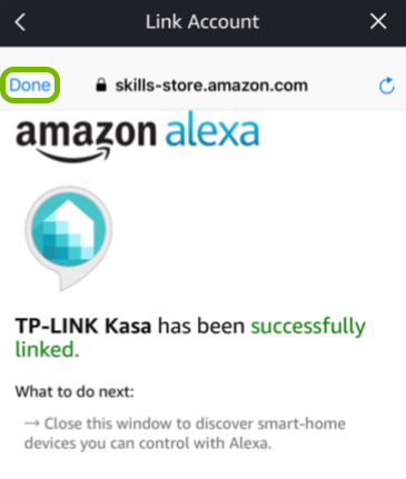 Done option highlighted on Alexa linking screen.
