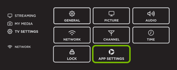 App Settings option highlighted in Smart TV menu.
