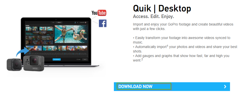 GoPro website displaying download options for the GoPro Quik app.