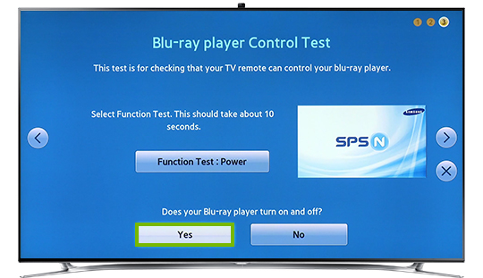 Function test complete highlighting the yes button.