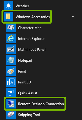 Start Menu program list with Windows Accessories and Remote Desktop Connection highlighted.
