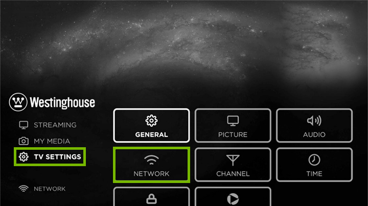 Smart TV settings menu