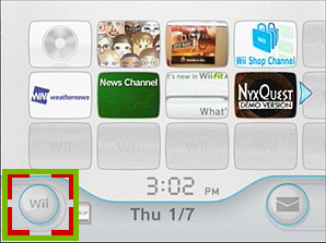 main menu with wii button highlighted