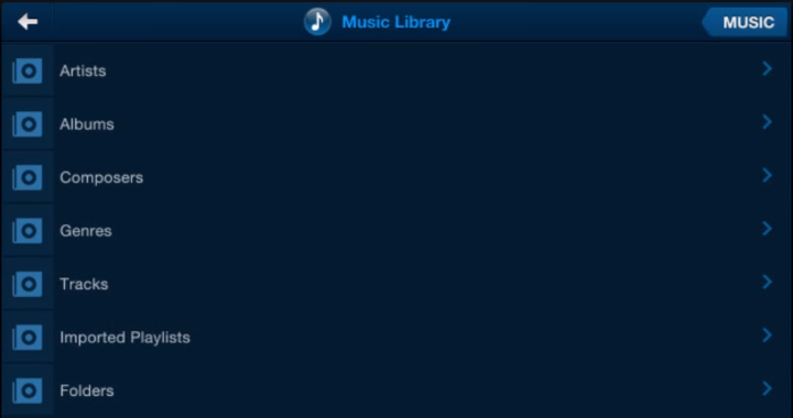 Browsable categories in Music Library
