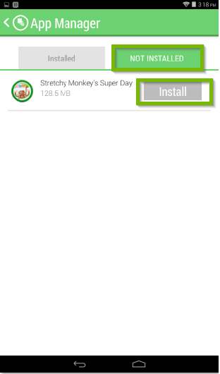 LeapFrog Epic's app manager screen with the not installed tab highlighted, and an install button beside an available app being highlighted.