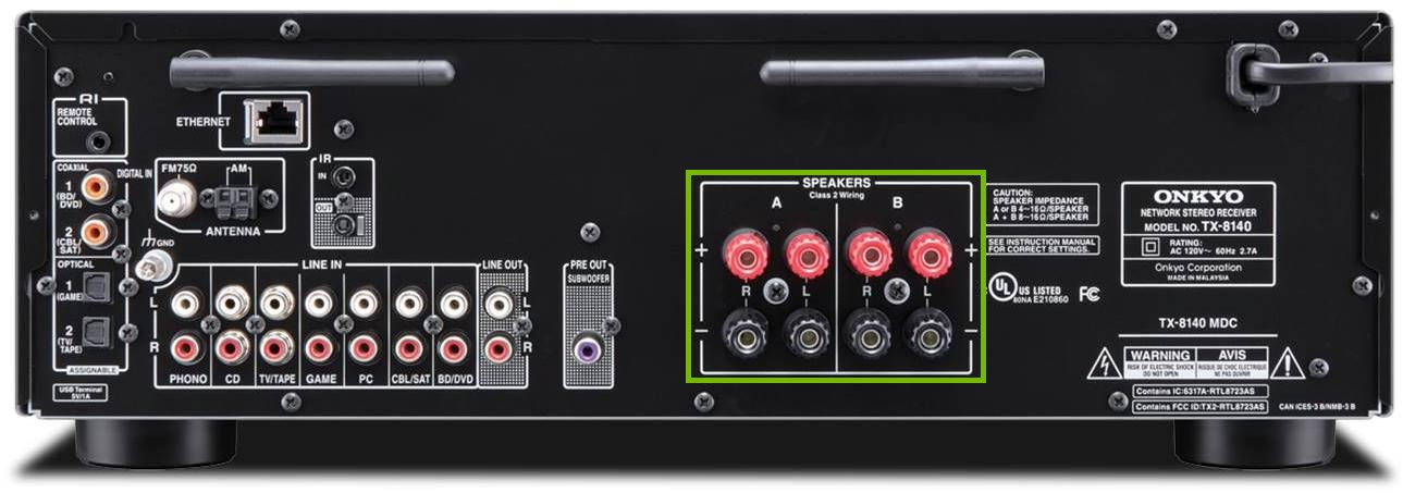 back of receiver with speaker connection points highlighted