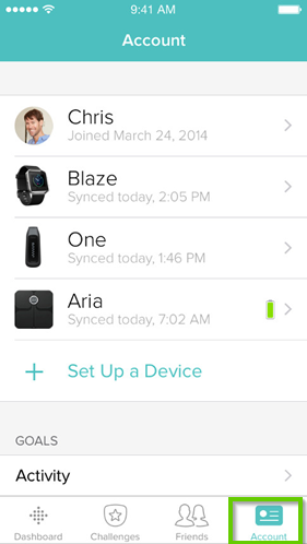 Fitbit app account tab