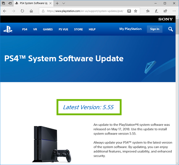 Browser showing PlayStation 4 Update page with Latest Version highlighted.