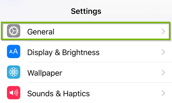 Settings with General highlighted.