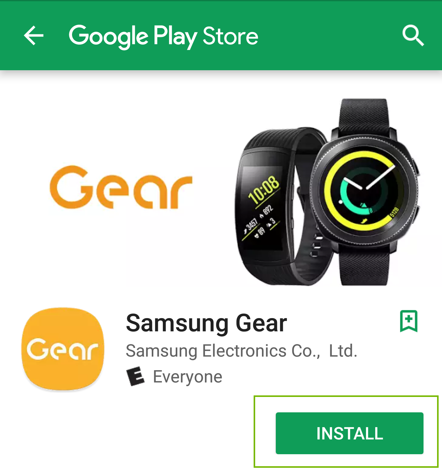 Gear Android Store page with install button highlighted