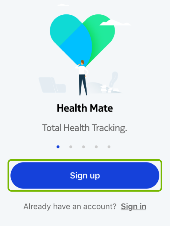 Sign Up button highlighted in Withings Health Mate app.