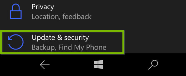 Settings with Update and Security highlighted.