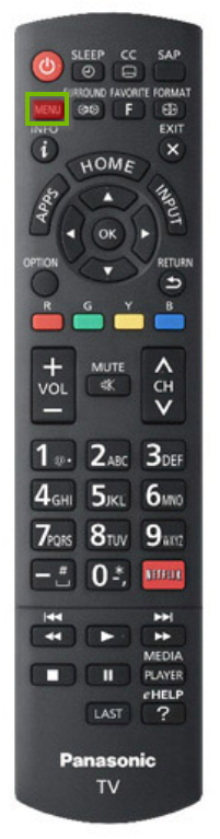 Panasonic TV remote with the menu button highlighted.