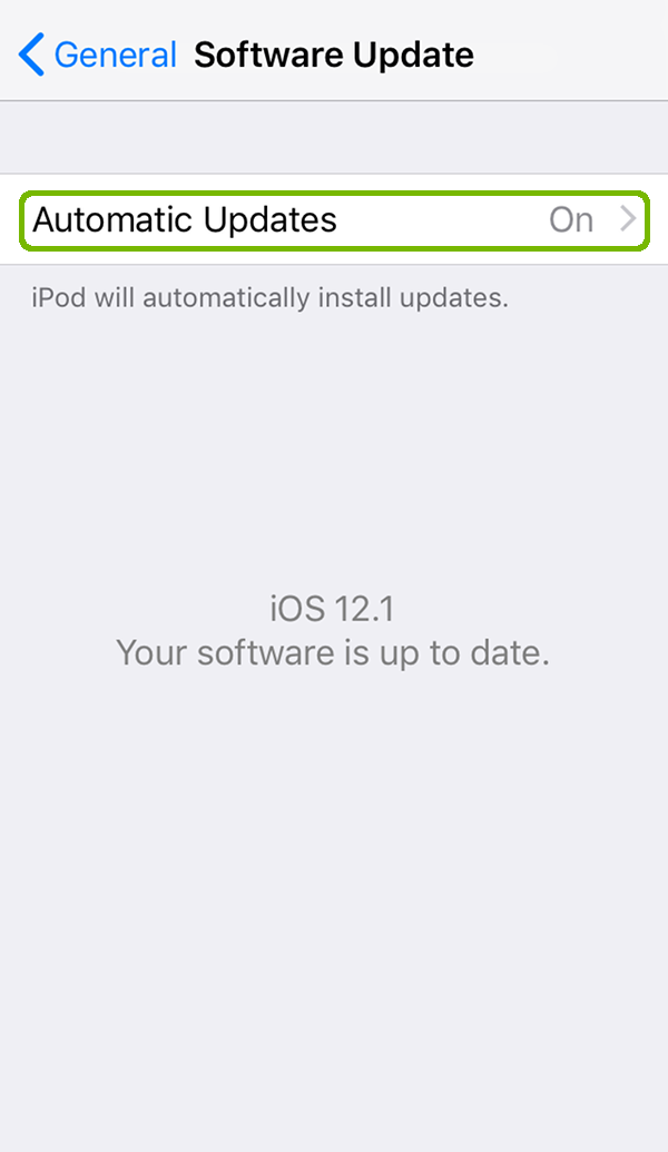iOS Up-To-Date with Automatic Updates highlighted.