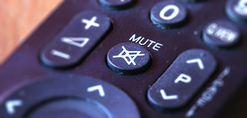 Image of a television remote control's mute button