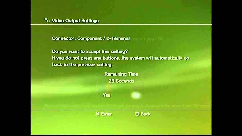 Video Output Settings screen. Confirmation on screen with Yes highlighted. Screenshot.