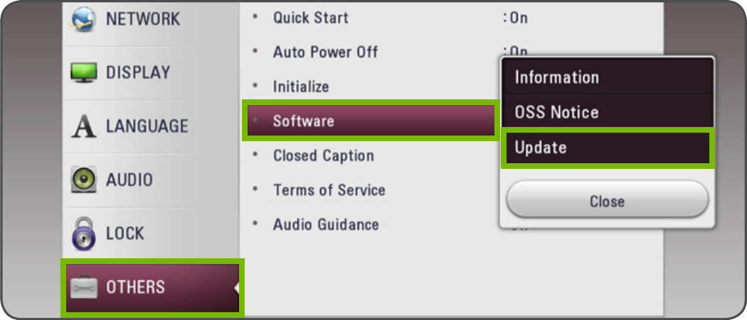 Path to Update Software highlighted in menu.