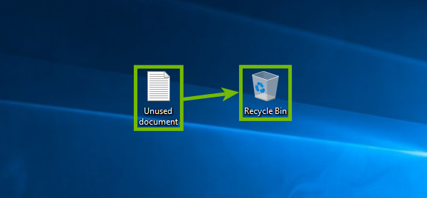 Dragging a file to the Recycle Bin.