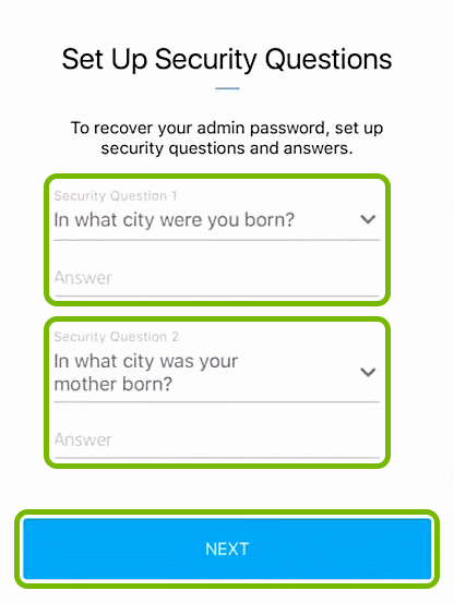 Security Questions and Answer entry fields, and Next button highlighted in Orbi app.