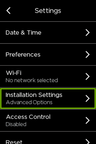 Installation Settings highlighted in ecobee settings.
