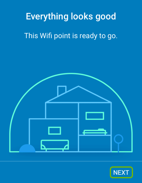 Additional Google Wifi point ready for use screen with Next option highlighted.