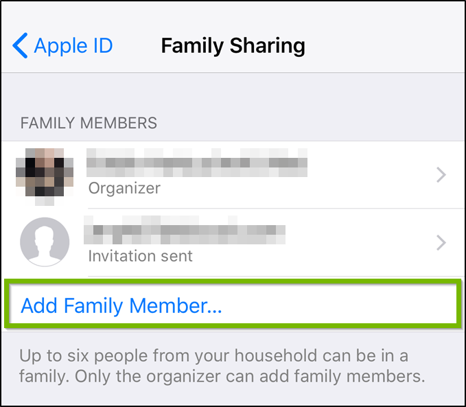 iOS Family Sharing menu highlighting the add family member option.