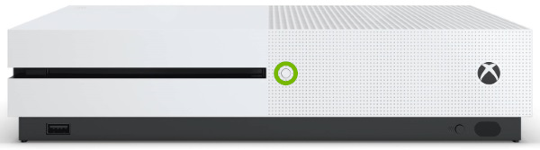 Eject button highlighted on front panel of Xbox One S.