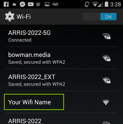 Android Wi-Fi list with Your Wi-Fi highlighted. Screenshot